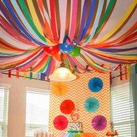 Другие искусства и ремесла 900 * 4.5см Декоративные оригами Грыщеные Crepe Paper Craft DIY Цветок Сделайте упаковку Скрапбукинг Party Backe Deco