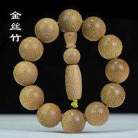 Bracelet en bambou en or dragon en or pour amants bracelet en bois Bracelet en bois haute densité Bouddha Pearl Bijoux