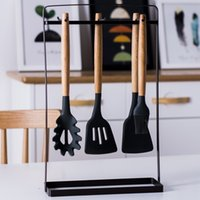 Alça de madeira Silicone Cozinha Utensílios Non Stick Pote Cooking Spook Shovel Set Sopa Sopa Sopa Escova De Petróleo Restaurante