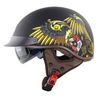 Motorcycle Helmets Retro Half Helmet With Lens Four Seasons Electric Car Rock Wolf