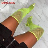 Néon emma king jaune pvc clear maille femme cuite haute bottes longues 2021 mode pointu tree talons aiguilles chaussures femme