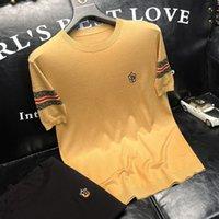 Роскошный бренд футболка мода светло-роскошный прилив бренд ледяной шелк с коротким рукавом футболка мужская круглая шея летом b новая средняя и молодежная тенденция трикотажная футболка