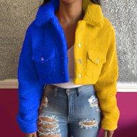 Women's Jackets Autumn Short Jacket Coat Fashion Trend Street Contrast Color Stitching Style Flocking Warm High Waist Lapel Top