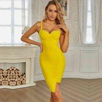 Elbise SWTAO Seksi Tasarımcı Sarı V Yaka kadın Soyunma Moda Gece Kulübü Sıkı Akşam Vestido 9s80