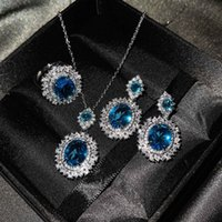 European and American new luxury color treasure set inlaid sea blue topaz ring citrine earrings pink diamond necklace