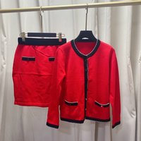 İki Parça Elbise 2021 Sonbahar Kış O Boyun Uzun Kollu Panelli Kazak Ve Kadın Moda Baskı Etekler Için 2 Parça Setleri 1013-1