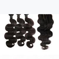 Paquete de pelo de Malasia con onda corporal de cierre Sin procesar Extensiones de trazos de cabello virgen humano 4x4 3 Parte Cierre de encaje 4pcs Lot DHL Bella Hair