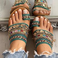 Sandals Women Slippers 2021 Summer Rome Retro Flat Casual Shoes Female Slip On Slides Woman Plus Size Sandalias Mujer