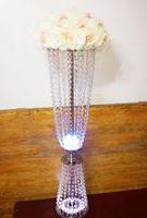 Festa decoração Cristal Casamento Corredor Flower Stand Table Titular de peça de mesa com LED Light Event Road Decor