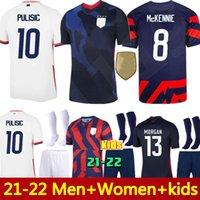 21 22 US Soccer Jersey # 10 Pulisic Yedlin Bradley Camicia Stati Uniti Uomini Donne Bambini # 7 Legno Dempsey Altidore Uniform uniforme
