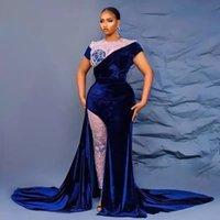 2022 Aracbi Style Blue Velvet Side Split Evening Dresses Two Pieces Short Sleeve Special Occasion Gowns Plus Size Illusion Pants Womens Prom Gown
