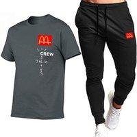 Sportswear dos homens sportswear sets algodão de secagem rápida ginásios fitness running terno moda manga curta t shirt + jogging calças 2pcs