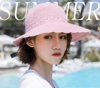 Sommerstil, Lafite Strohhut, Damen Urlaub leerer sonniger Hüte, Fliege, Big Beach Sun Protection Hut breite Krempe Hüte