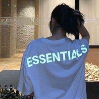 Туман мужская 2021 футболка INS Hot Essentials Страх Бога Мода Мужчины Мужчины Топы Летние Короткие Рукава Светоотражающие буквы Печать