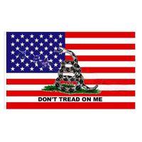 USA-Flaggen 90 * 150 cm Polyester Gadsden-Flagge blaue rote Linie Flagge gelbe Schlange Banner Trump Home Decoration Party Supplies