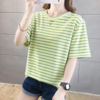 Women's T-Shirt Colored Striped T Shirt Summer Tshirts For Women Fashion Casual Wild Tops Crew Neck Short Sleeve Tee