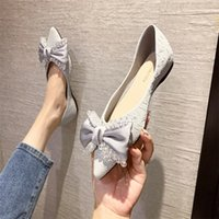 autumn pointed shallow mouth single shoes women's Rhinestone bow solid color flat bottomed women's shoes soft bottomed lazy women's