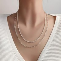 Chains 2021 Girl Simple Shiny Metal Chain No Pendant Clavicle Necklace For Women Fashion Jewelry Accessories