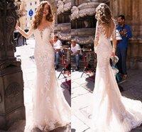 Elegant Lace Appliqued Long Sleeve Wedding Dresses Mermaid 2021Back Illusion Princess Bridal Gowns with Train vestido de noiva