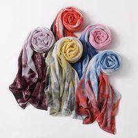 Diseñador de marca de verano Tie-tinte Impreso gasa Hijab Scarf Mujeres Muslim Bufandas Popular Manteador Bandana Turbante Nuevo Estilo