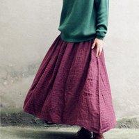 الخريف الصيف خمر القطن المرأة التنانير الكتان مطوي طويل ماكسي تول الصلبة عارضة تنورة زائد حجم 5xl مرونة الخصر