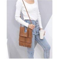 Cross Body Fashion Thin Tassel Bag Foreign Trade Shoulder Messenger U-shaped Female Simple Soft Leather Handbags Women Single