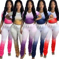 Kadın Şort Eşofman Iki Parçalı Kıyafetler Yığılmış Pantolon Yaz Kravat Boya Tasarımcısı Setleri Spor Fitness Koşu Giyim 859