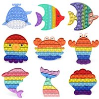 Sea World Whale Dolphin Proste Fidget Toy Push Sensory Toy Relief Anti-Stres Reliver Toys Push Game Push Toys Cy05 DHL US Stock