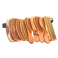 1pcs Natural Peach Solid Wood Comb Healthy Massage Anti-Static Hair Care Tool Beauty Accessories Brushes1