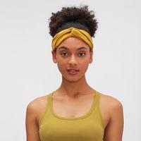 2021 New Pleated High Elastic Skin Friendly Solid Color Cross Binding Headband Women's Yoga Sports Headband