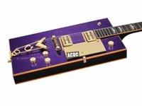 RARE G5810 BO Diddley Big Sparkle Metallic Purple Suqare GUITARRUGA ELETTRIC Body Gold Body Gold Body, Bigs Tremolo Bridge, Grover Imperial Sintonizzatori, hardware dorato