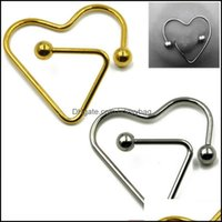 Rings Body Jewelrybody Piercing Stainless Steel Heart-Shaped Nipples Perforated Nipple Ear Stud Earring Pendant Nail Sexy Jewelry Drop Deliv