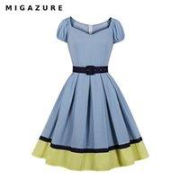 Vestidos de fiesta Vestido Migazure 2021 Diseñador de verano 50s Estilo vintage Rockabilly Oficina Mujeres Elegante con cinturón