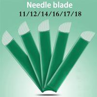 100 pz 11 12 14 16 17 18 Flex Blades 0.20mm Aghi microbladanti Verdi per tatuaggio lamina tebori Trucco permanente Agulhas Aghi 210323