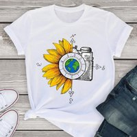 Women Graphic World Sunflower 90s Vintage Truck Short Sleeve Summer Lady WomensT-Shirt Shirt Tees Clothing Tops Female T Women's T-Shirt