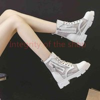 2021 Without box Women's Mesh Martin Boots Thick-Soled Inner Heightening for Women Fashion Casual Side Zipper Shoes