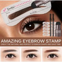 Eyebrow Shaping Kit Stamp Pencil and 5 Pairs Brow Stencils Pen Cosmetics Waterproof Natural Color Eye Makeup Tools enhancer gel dhl