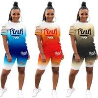 Donne Tracksuit Fashion Gradient Color Letter Stampa maniche corte T-shirt Top Top Pantaloncini Casual Sport Casual Due pezzi Set Outfits G34Djum