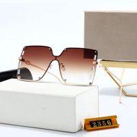 2021 여성 패션 Womens 럭셔리 디자이너 선글라스 선글라스 선글라스 탑 브랜드 유행 남성 골드 하프 프레임 음영 유리 편광 안경 UV400 안경