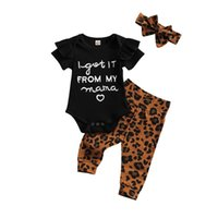Born Toddler Girls 3 Pcs Outfits Suits Short Sleeve Letter Printed Romper Tops + Leopard Long Pant Headband Clothing Sets