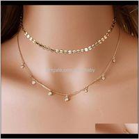 Оптовая многослойная подвеска цепи длинные слоистые хрустальные бусины кисточки блестки Choker ожерелье для женщин подарки OBF2Z Chokers WIGVO