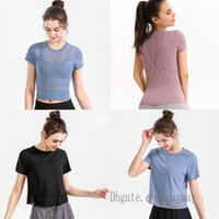 womens yoga shirts t-shirt for women tshirts designer woman lu lulu t shirt outfit Breathable mesh sport fitness lace Running Gym T-shirts Sexy 0503 M4pN#
