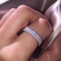 Alyans Visisap Lüks Mikro Eklemek Kadın Klasik Gümüş Renk Yüksek Kaliteli Takı Yüzük Kızlar Boyutu6-10 F168