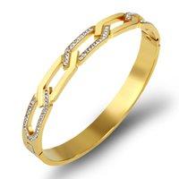 2021 браслет из нержавеющей стали цепь мужчин браслет орнамент серебряные розовые золотые браслеты женские дизайнер ювелирные изделия липкая белая грязь полная сверла застежкой браслеты оптом