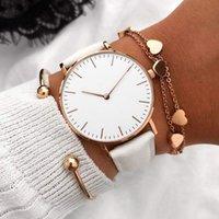 Tasarımcı Lüks Marka Saatler Moda Kadın Deri Bayanlar Basit Kuvars Bilezik Bilek Kadın Saati Zegarek Damski Reloj