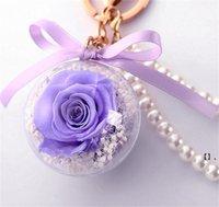Korunmuş gül çiçek akrilik topu anahtarlık ölümsüz çiçek püskül romantik hediye sevgililer günü doğum günü1 NHA6154