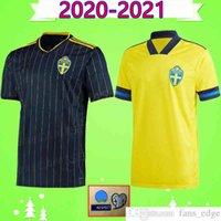 2020 2021 Швеция футбольные трикотажные изделия Главная Желтый прочь Черный 20 21 Sverige Forsberg Lindelof Берг Ибрагимович Национальная команда Футбол Футбольная Униформа Рубашка Вершина