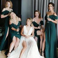 2021 Sexy Cheap A Line Bridesmaid Dresses SPaghetti Straps High Side Split Wedding Guest Dress Maid of Honor Gowns robes de demoiselle d'honneur