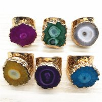 Cluster Rings Big Gold Rim Vintage Retro Green Purple Geode Crystal Flower Agates Stone Slice Adjust Open Hammered Ring Cuff For Woman Man