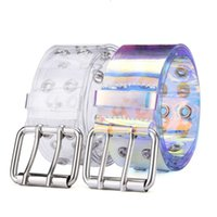 Two Row Pvc Clear Belt Ins for Women Fashion Pin Buckle Waistband Female Waist Trousers Laser Belts Ladies Jeans Grommet